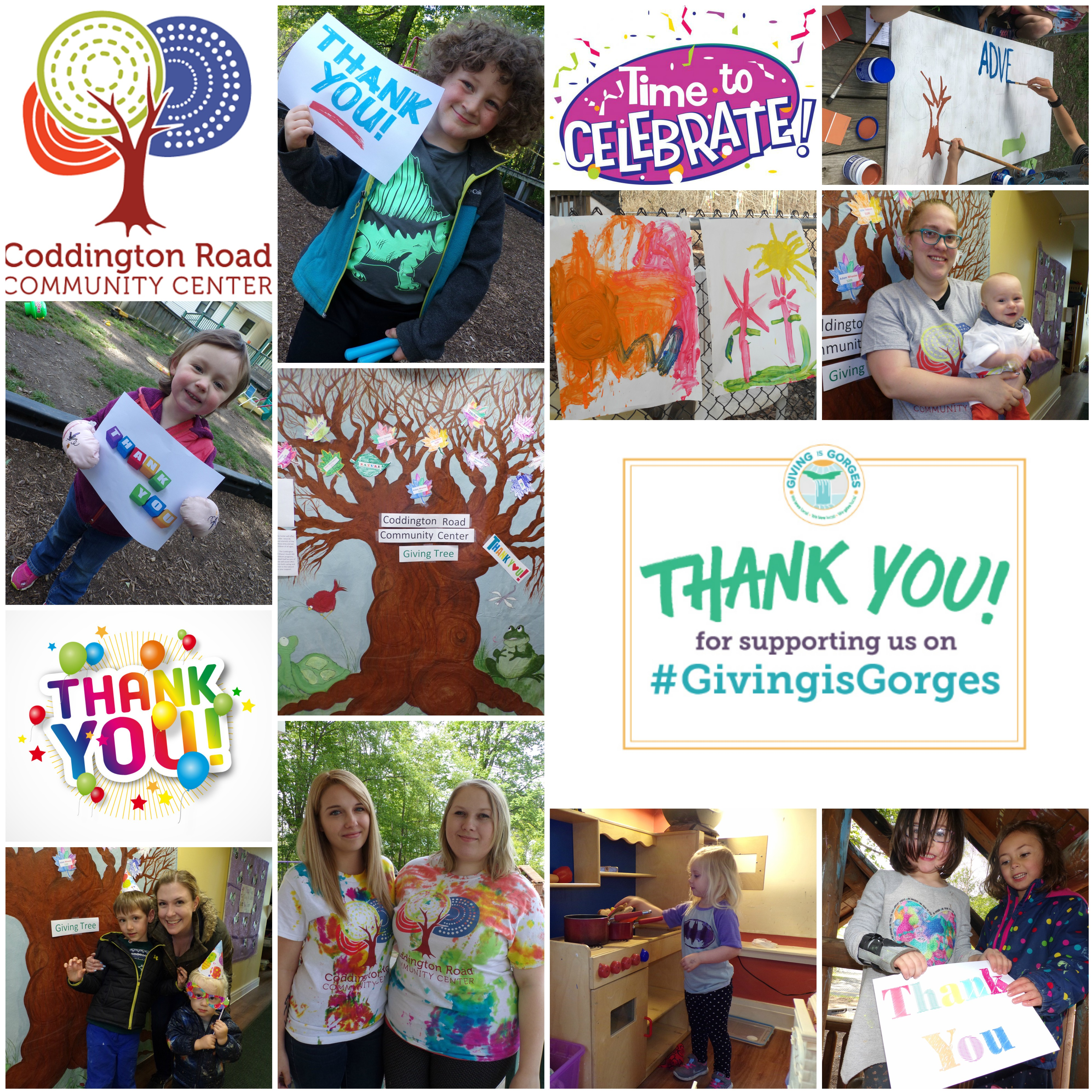 Thank you message and photograph for the donors of Coddington's Giving is Gorges campaign.